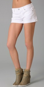 7 For All Mankind Roll Shorts in White, $128 at Intermix