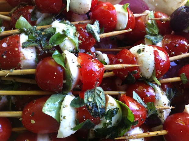 Caprese on a Stick : Cherry Tomato, Mozzarella & Basil Skewers