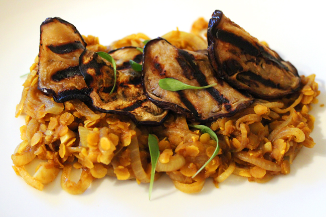 Curried Dhal with Grilled Eggplant